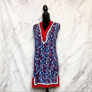 Escapada Living Red Blue Sailboat Nautical Dress